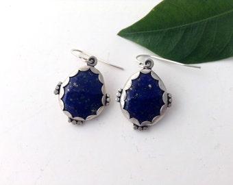 lapis lazuli earrings, sterling silver, blue earrings