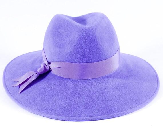 Spring Pastel Lilac Fedora Hat Wide Brimmed Hat Spring Accessories Boho Hat Felt Fedora Hat Easter Hat Pastel Colors Kentucky Derby Hat