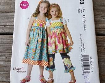 "McCall's Child's Top & Dress Pattern P408 Child's Size: 2-5, Breast 21""-24"", Waist 20""-21"", Hip -25"""