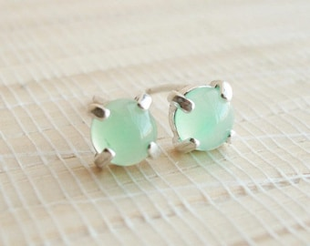 Chrysoprase Studs Sterling Silver Earrings 5mm