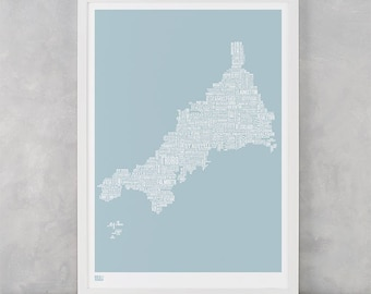 Cornwall Map, Cornwall Type Map Screen Print, Cornwall Type Map Wall Art, Cornwall Font Map, Cornwall Word Map, Cornwall Print