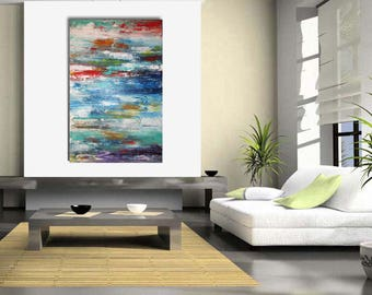 Original large abstract painting palette knife wall art deco by Elsisy 46x30 Free US shipping