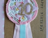 Personalised Party Birthday Rosette Badge Age Ribbon Rosette made to order m