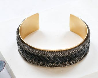 Groupie Bracelet, Beaded Cuff Bracelet, Black Cuff Bracelet, Gold Plated Cuff Bracelet, Black Bangle, Statment Bracelet