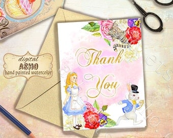 Hand Drawn Watercolor Alice Printable Card, Thank You Card, Alice in wonderland Card, Stationery Cards, Instant Download, Watercolor Card