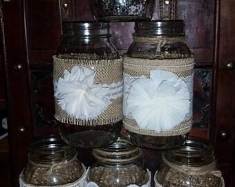 Set of 12 Mason Jar Sleeves Burlap Lace Ivory Cream Chiffon  Decorations Wraps Shabby Rustic Wedding Party Shower
