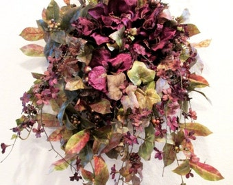 SALE Autumn Holiday Large Wall Container Swag with Purple Velvet Amaryllis, Orchids and lightly glittered Copper Gold Plum Foliage with Berr