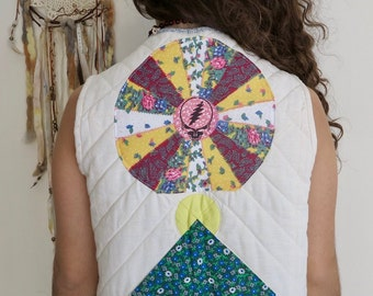 Vintage Upcyled Quilted Patchwork Grateful Dead Steal Your Face Vest Sweater Upcycled Hippie Bohemian Festival Size Small