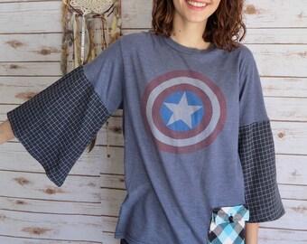 Faded Comfy Captain America Plaid Bell Sleeve Pocket Tee Top Shirt T-shirt One Size Comic Book Geek Superhero
