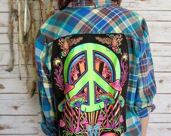 Black Light Neon Mushroom Peace Sign Print Plaid Button Up Shirt Size XL/2XL Upcycled Boho Hipster