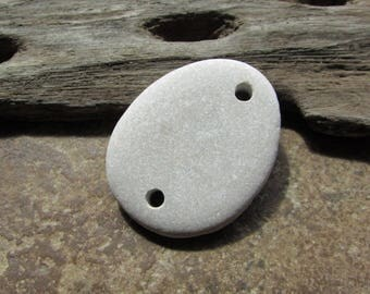 Natural Stone CONNECTOR Beach Stone Button Beads Lake Stone LINKS 3mm