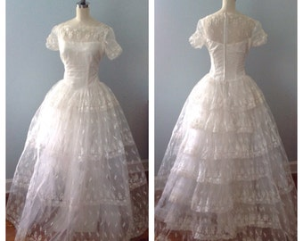 Lace and Bows 1950s Cinderella Wedding Dress