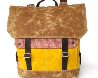 Waxed Canvas Backpack / Yellow / Cranberry Vintage Wool and Oiled Leather