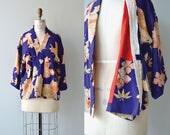 Onshitsu silk kimono jacket   vintage japanese floral silk wrapper   1950s kimono