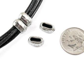 TierraCast Leather Crimp Beads-Pewter HAMMERTONE BARREL ID 6X2mm (4)