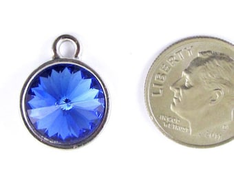 September Birthstone Charm-SAPPHIRE BLUE Swarovski Rivoli Crystal 14x18mm (1)