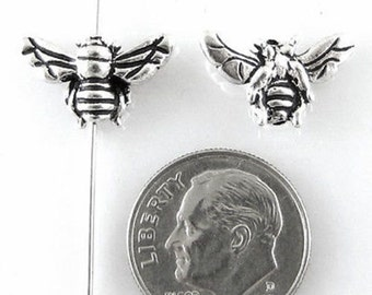 TierraCast Pewter Beads-Antique Silver HONEY BEE (2)