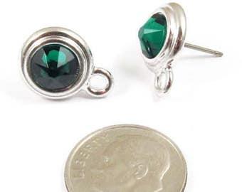 May Swarovski Crystal Birthstone Earring Posts-EMERALD GREEN & SILVER (1 Pair)