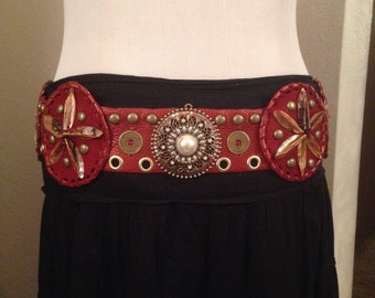 Tribal fusion, tribal , bellydance , rusty red, shell medallion  belt
