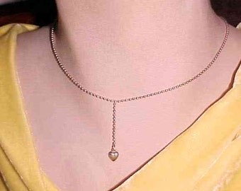Vintage 925 Italy Sterling Bead Chain Center Heart Pendant Drop Necklace