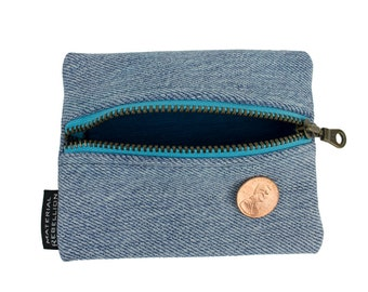 Teeny Blue Zipper Pouch - Made from Upcycled Denim & T-Shirts