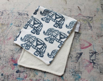 Hand-Blocked Print Organic Knit Burp Cloth Bamboo Terry Cloth Navy Elephant Baby Boy Girl Shower Gift