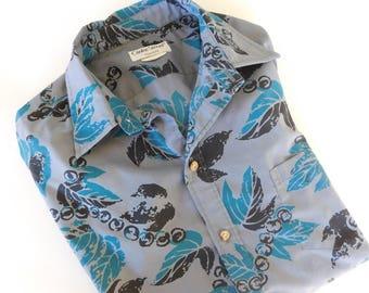 Vintage 1980's Cooke Street ALOHA Cabana wear HAWAIIAN Screenprinted Fabric Shirt Mens Size Large Gray Teal Screen printed Button Up