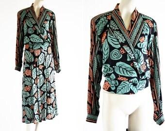 Vintage CL Carol Little Rayon Crepe Teal and Orange Printed Midi Length Elastic Waist Skirt and Loose Fit Elastic Back Long Sleeve Jacket