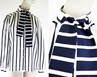 Lady Arrow Vintage Navy Blue and White Strip Polyester Long Sleeve Tie Neck Button Down Lightweight Woman's Retro Blouse