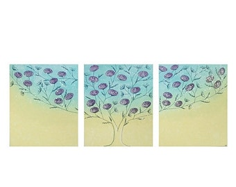 ON SALE Tree Artwork Original Painting on Canvas Triptych - Aqua and Yellow Floral - Extra Large 62x24