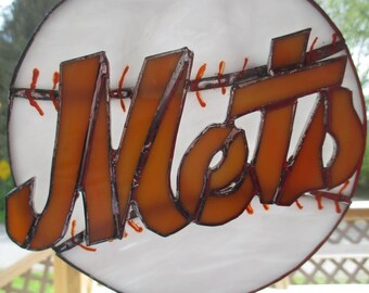 Stained glass NY mets baseball plaque