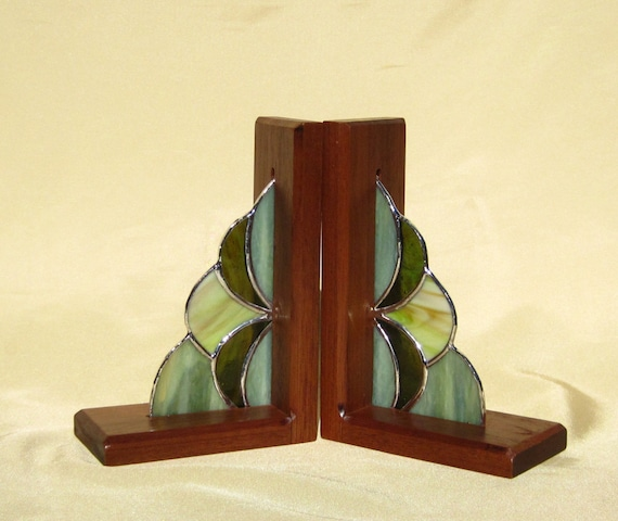 Bookends Stained Glass and Mahogany Bookends Green Glass and
