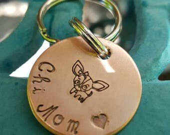 Doggie keychain, Chihuahua keychain, Chihuahua owner gift, pet mom gift, chihuahua memorial gift, I love my chi, personalized keychain