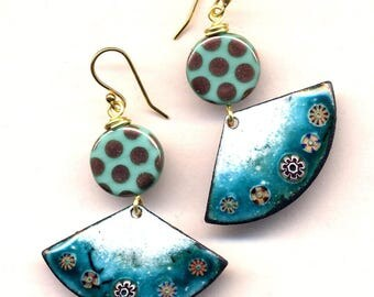 Turquoise Earrings, Enamel Asian Fan Earrings, White Gold Turquoise Earrings, 18 K Gold Filled Cooper Earrings, Floral earrings by annaart72