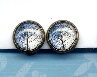 Blue Leaf Clip On Earrings, Clip on Earrings Earrings, Clip Leaves Earrings, Blue White Gold Clips Earrings, Nature earrings by annaart72