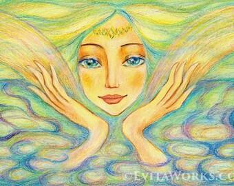 Spiritual art, healing hands, Reiki painting, angel, inspirational art, meditation, poster woman wall print 8x11+
