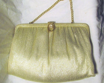 Ande Vintage Purse Rhinestone Clasp Sparkly Gold Evening Bag Vintage Convertible Clutch Gold Metallic Purse 1960s 60s
