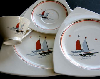 Salem China Atomic Art Deco Dinnerware Set for 4 or 8 - Streamline & Tricorne Shapes, Nautical Sailing Ships Pattern