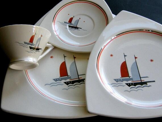 Salem China Atomic Art Deco Dinnerware Set for 4 or 8 - Streamline & Tricorne Nautical Sailing Ships