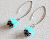Reserved for Flor Sterling Silver Turquoise Earrings Dangle Signed Vintage
