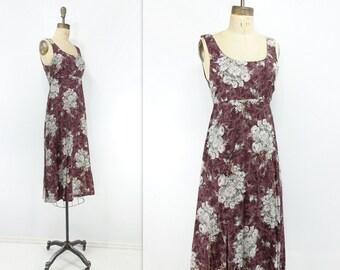 Vintage Floral Dress 90s Burgundy Dress 90s Maroon Floral Midi Floral Dress 1990s Floral Dress 90s Boho Midi Floral Vintage Tank Dress xs
