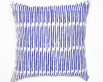 Scribble - cobalt blue, organic, hand printed modern accent pillow, eco friendly home decor, artistic throw, neutral