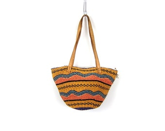 vintage woven market bag jute twine sisal shoulder bag with leather straps Bohemian chic natural bucket bag purse Natural earthy