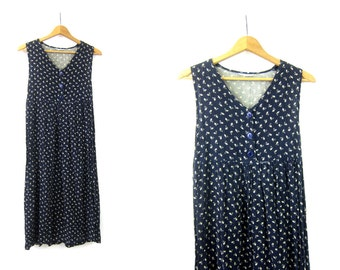 Blue Dress Frock Loose Fit Sun Dress Festival Dress Vintage 1990s Graphic Print SunDress Midi Dress Womens Size Small