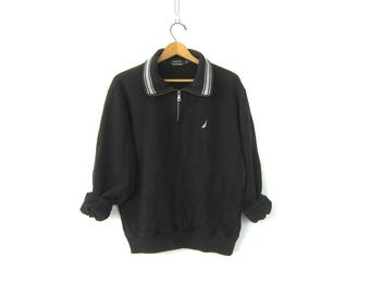 vintage Black sweatshirt High Zipper Collar ATHLETICS Sports Sporty Logo Emblem workout Top Nautica Size Medium