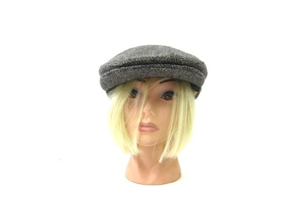 vintage Gray Wool newsboy hat Driving cap Cabbie Cap Hipster Men's Women's Hat Unisex size Medium