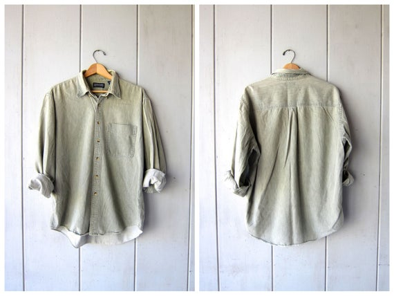 Sage Green Cotton Button Up Shirt 90s Mens Long Sleeve Button Down Shirt Slouchy Preppy Grunge Top Basic Oversized Shirt Mens Large