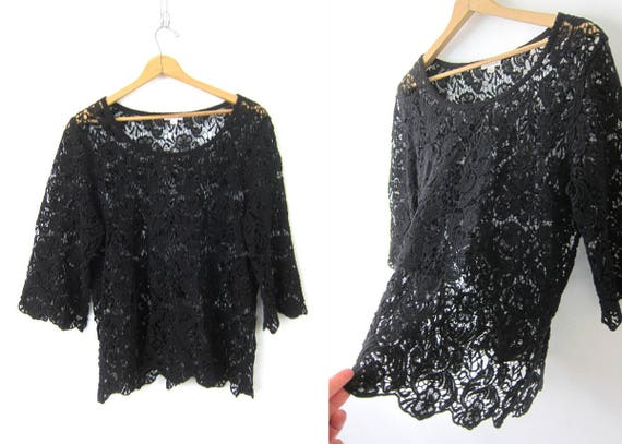 Black OPEN Knit Blouse See Through Boho Floral Knit Crochet Vintage 90s Oversized Cotton Dress Shirt Top Womens Size XL Extra Large