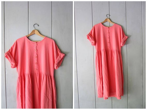 Basic Cotton Dress 90s Natural Shirt Dress Minimal Button Front Midi Dress Simple Summer Dress Pink Salmon Dress Oversized Women's Large XL