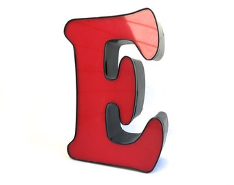 "Vintage Red metal Industrial letter E ~Capital E ~E is for Eagle~ Wall art vintage salvage 18"" Tall~ Repurposed Decor"